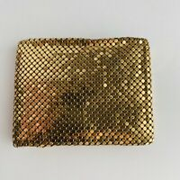 Vintage Whiting & Davis Mesh-Mates Gold Bi Fold Wallet Snap Coin Holder