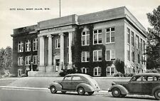 West Allis Wisconsin~Ivy Covered City Hall~Woman on Steps~1940s Cars~B&W Linen