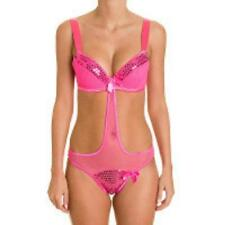lingerie trikini style body SOLEIL SUCRE rose fluo sequins taille 100D/44-46