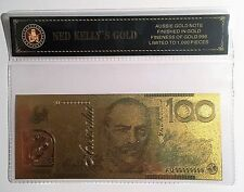 NED KELLY'S GOLD $100.00 NEW NOTE 24K 999 GOLD FOIL BANK NOTE C.O.A. PACK
