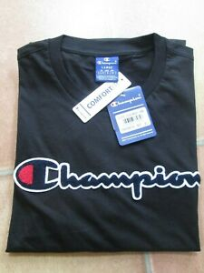 Men's Champion Large Logo Crew Neck Comfort Fit T-Shirt in Black - New With Tags