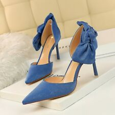 Womens D'Orsay High Heels Bowknot Stilettos Suede Pumps Pointed Toe Shoes Summer