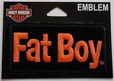 Harley Davidson Embroidered Fat Boy Emblem Patch in Orange/Black NEW