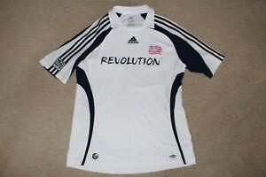 Men Sz L Large Adidas New England Revolution Soccer Jersey 2007 White Navy USA