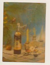 Soviet Russian Stereo postcard 3 d - New Year, Armenian cognac