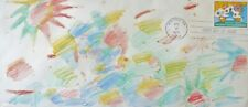 PETER MAX Unique mixed Media drawing 1974 on First Day Cover HAND SIGNED framed