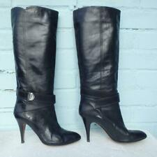 Karen Millen Leather Boots Size UK 7 Eur 40 Womens Sexy Pull on Black Boots