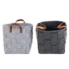 Storage Basket Orgagnizer Bin Large Woven Felt Round with Handle Collapsible UK