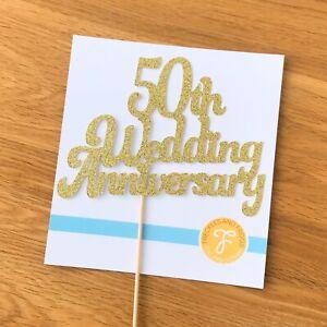 50th Wedding Anniversary Cake Topper GOLD Glitter Card Anniversary Cake Decor