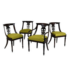 Set of Four Hollywood Regency-style Dining Chairs Mahogany Wood Newly Refinished