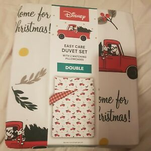 Disney Mickey Mouse Easy Care Double Reversible Duvet Cover Set 2 Pillow Cover