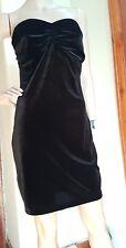 MANGO Black Strapless Velvet Dress Open Back Size M Medium BNWT