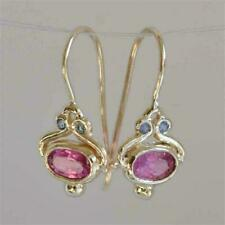 ❤️Earrings 9ct Gold Over Antique Pink❤️Sapphire Drop Hooks UK FREE Post Silver❤️