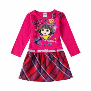 Dora princess girls 100% cotton hot pink long sleeve dress (2-3 Years)