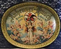 Vintage ANHEUSER BUSCH Brewing Association Beer Metal Serving Tray Cherub Angel