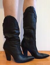 BCBGirls Boots Cowboy Western Soft Calf Leather Pointy Toe Black 7.5 B Nice