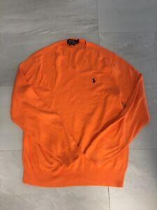 Large Mens Orange Polo Knit