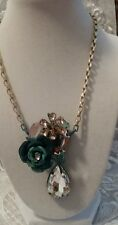 BETSEY JOHNSON RUSTIC BLUE ROSE CHOKER STYLE NECKLACE NEW