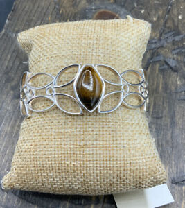 Barse Mesquite Cuff Bracelet- Tigers Eye and Silver Overlay-NYT
