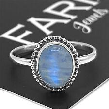 Designer 925 Sterling Silver Ladies Moonstone Oval Cabochon Gemstone Ring Gift