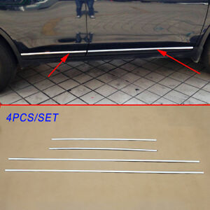 4X Steel Chrome Door Body Side cover Trim For X-trail Rogue T32 2014-2016 Parts