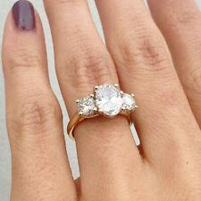 2.10 Ct Oval & Round Three Stone Diamond Engagement Wedding New Ring