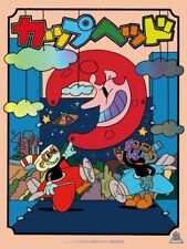 Bottleneck Uki Hayashi Cuphead Stage Flight Metallic Variant Poster Giclee Print