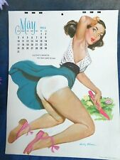 "VINTAGE May 1953 Eddie Chan Pin up ART CALENDAR Brunette in GARDEN 8.5 x 11"""