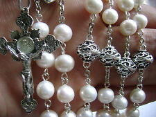 Bali Sterling 925 Silver Beads & AAA Real Pearl Rosary Cross Catholic Necklace