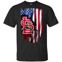 American Flag St Louis Cardinals MLB T-Shirt Black-Navy Short Men-Women
