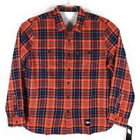 Levis NFL Denver Broncos Grid Iron Plaid Flannel Shirt Mens Orange Blue