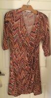 shelby& palmer orange geometric print wrap dress soze petite xl NWT