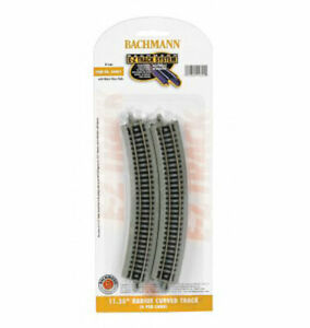 "Bachmann EZ-Track ~ 11.25"" Radius Curved Track ~ N Scale ~ 6 Pieces ~ 44801"