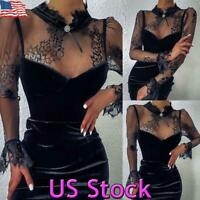 US Womens Sexy Bodycon Mesh Lace Mini Dress Slim Long Sleeve Party Club Cocktail