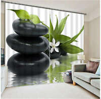 Narcissus Black Stone 3D Blockout Photo Printing Curtains Draps Fabric Window