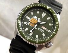Seiko Green Ceramic Snoopy Peanuts Automatic Day Date Diver's Watch Custom 6309