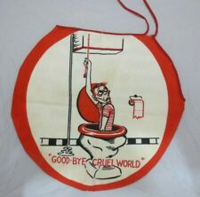 Vintage Funny Toilet Lid Cover Goodbye Cruel World Humor Gag Gift Bathroom Fun
