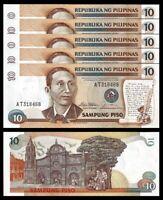 Philippines 10 Piso 1985 1994, UNC, 5 PCS Consecutive LOT, P-169a, Prefix AT