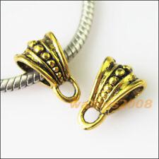 8 New Triangle Antiqued Gold Bail Bead Fit Bracelet Chrams Connectors 9.5x15mm