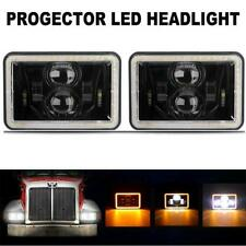 "Pair 4x6"" LED Headlights Halo Run Light DRL for Peterbilt Kenworth Freightliner"