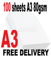 CRAFTS SCHOOLS INKJET PRINTING 50 x A3 QUALITY HIGH WHITE PAPER 120gsm LASER