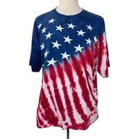 Vintage Liquid Blue American Flag 4th of July XL Tie Dye Single Stich Red White