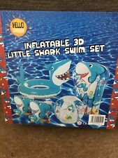 Inflatable 3d Little Shark Swim Set Armbands Float Ring Ball Pool Toys Childrens