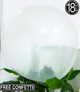 "30 Clear/Transparent Party Wedding 18""/45cm Large Latex Balloons + Free Confetti"