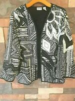 Chico's Jacket Black White Embroidery Lined Silk Open front  sz 2  VTG WR7