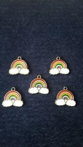 5x Enamel Rainbow Charms Jewellery Making Bracelets Necklaces Keyrings Earrings.