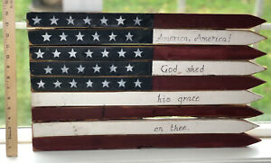 Outdoor Wooden American Flag Wall Sign, Durable Classic Outdoor Garden Decor