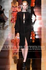 $2,650 GUCCI DRESS BLACK SILK CAPE LONG SLEEVES OPEN FRONT DEEP V-NECKLINE 42 6