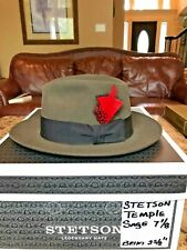 "STETSON ""TEMPLE"" SOVEREIGN SAGE 7 1/8 GREAT FEDORA!"