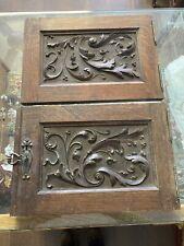 More details for pair of antique oak carved panels, cupboard door panels